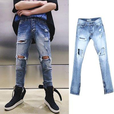 『潮范』 WS3 歐美高街腳口拉鏈破壞做舊必備裝配牛仔褲 休閒褲 牛仔長褲 休閒長褲NRG239