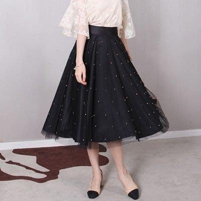 蕾絲裙 中長裙(零碼賠售出清、恕不退換)-釘珠網紗半身蓬蓬女裙子73x29 [獨家進口][米蘭精品]