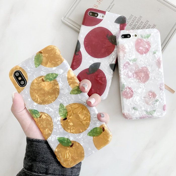 iphone x 殼 xr手機殼韓風貝殼紋小清新水果iPhone7/8plus手機殼X/xr蘋果Xsmax軟殼女6s