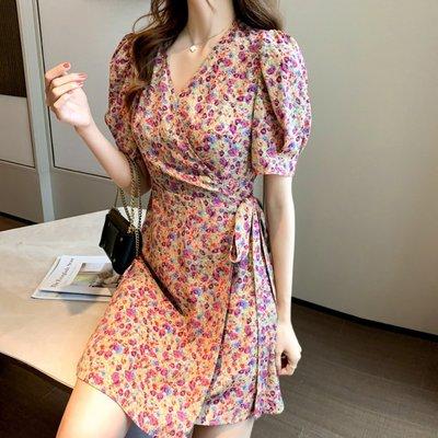 短袖洋裝 (HH0428-8) 小編推薦款:必入手的法式復古甜美V領碎花雪紡連身裙  S-XL 有2色