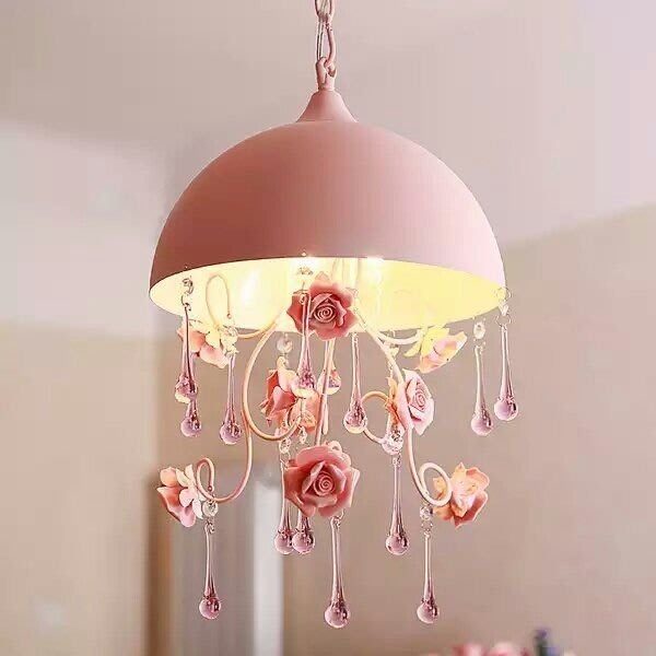 粉紅玫瑰精品屋~半圓餐廳小吊燈 粉色田園格玫瑰花朵鐵藝卧室樓梯公主房燈~三燈