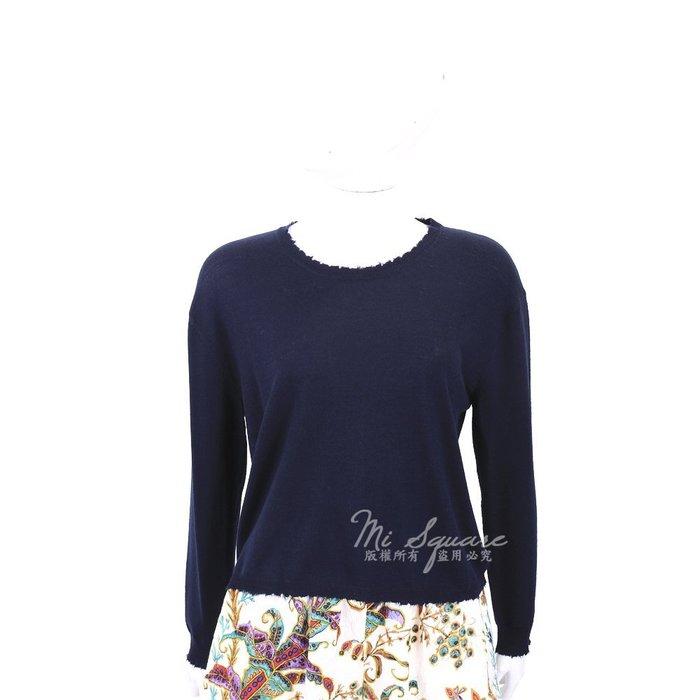米蘭廣場 ALLUDE 深藍色毛邊設計圓領針織羊毛上衣(100%WOOL) 1710093-34