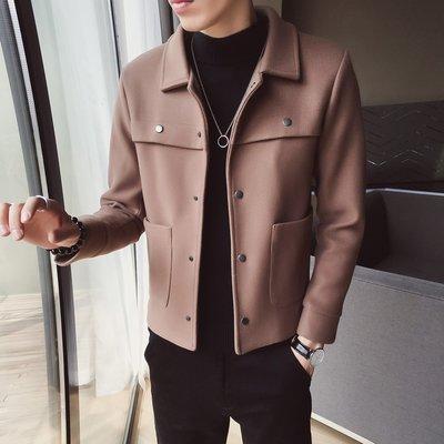 【MOZ潮流男装】秋冬季青少年男士純色時尚百搭毛呢大衣潮流款呢子外套