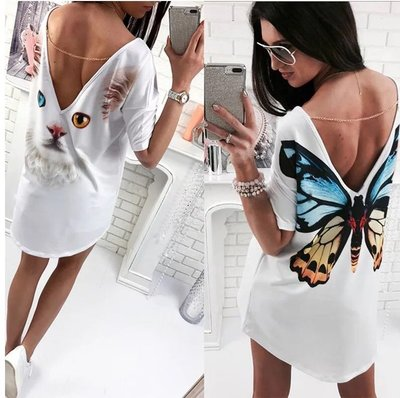 i crazy 88~*【現貨出清】夏季新款歐美印花性感深V露背連肩袖長版上衣洋裝-蝴蝶(7204)