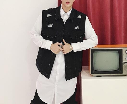 FINDSENSE品牌2019 新春 新款 韓國  無袖 馬甲 牛仔 破洞 個性 修身  時尚 暗黑 潮流上衣 外套