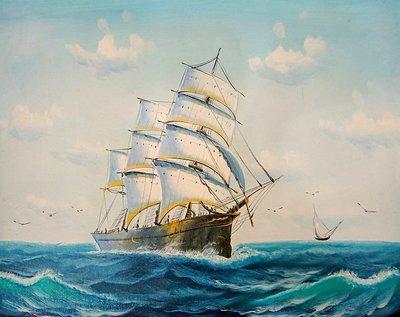 【松風閣畫廊-裱框裝框裱褙】帆船圖 ✽50x60公分✽ 手繪油畫 滿載而歸 s18049