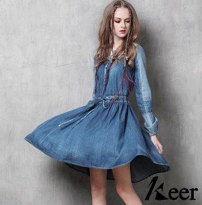 《免運 現貨+預購》拼接復古刺繡 大裙擺連身牛仔裙 單寧洋裝 A6550 Baonizi 寶妮子