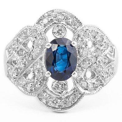 【JHT 金宏總珠寶/GIA鑽石專賣】1.05ct天然藍寶造型鑽石戒指/材質:14K(S00012)