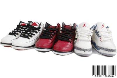 =CodE= 全新AIR JORDAN 2 3 小鞋模型鑰匙圈(白.紅.白/藍).爆裂紋.RETRO.II.III.吊飾.NIKE.AJ2.AJ3.OG