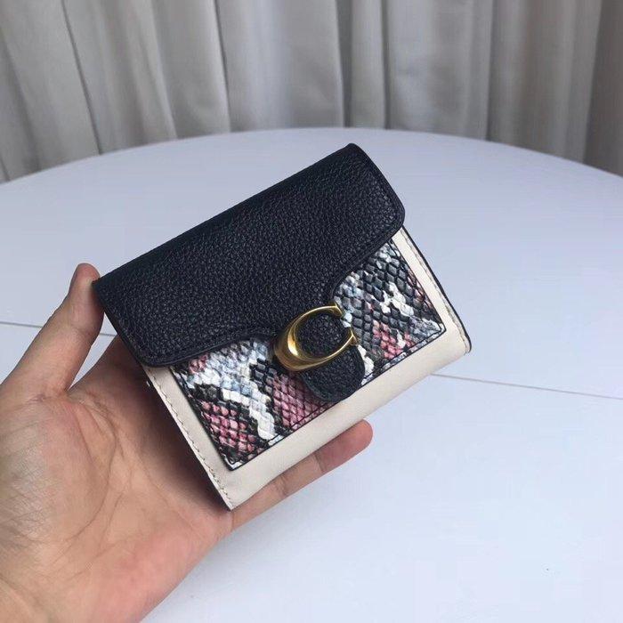 COACH 76292 全新熱賣款經典真皮拼色女士短夾 錢包 附零錢袋