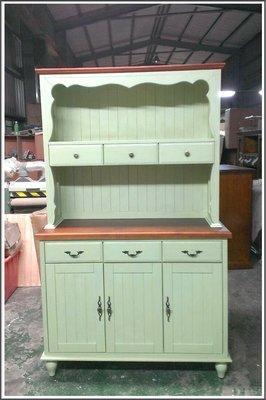 雙色綠色刷舊實木4尺餐櫃電器櫃 鄉村風...