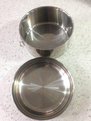 雙層不鏽鋼便當盒 圓型白鐵便當盒 保溫便當盒  不鏽鋼筷 匙叉餐具組 15公分