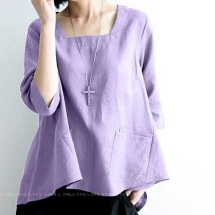 中大尺碼 棉麻衫 娃娃衫 蝙蝠袖 七分袖 黃 紅 綠 紫 上衣 ~ QC177