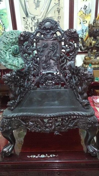 古董龍椅黑紫檀木有5件高105公分寬72公分深70公分坐深55公分可以零買1張~5張/前後左右雕刻連椅子後面也雕刻