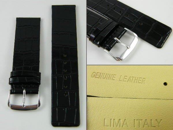 【錶帶家】『嚴選』CK 代用 LIMA 義大利黑色亮面鱷魚壓紋直身真皮錶帶 6mm 8mm 16mm 22mm 24mm