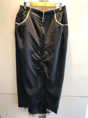 ++特價++新品入荷 設計師品牌I Prefer 藍色貼布滾邊設計口袋棉質長裙(M)