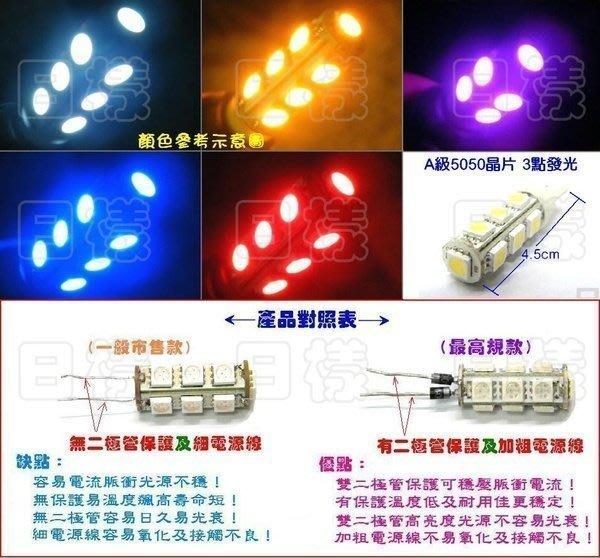 《日樣》A級T10 13晶 5050 SMD插泡燈 小燈 狼牙棒 高規雙二極體 T10-13(白/藍/紅/黃/綠/粉紫)*