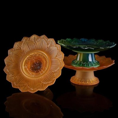 佛燈 供奉用品 宗教用品 佛教用品琉璃浮雕蓮花供佛果盤果碟水果供盤供碟家居佛堂擺件
