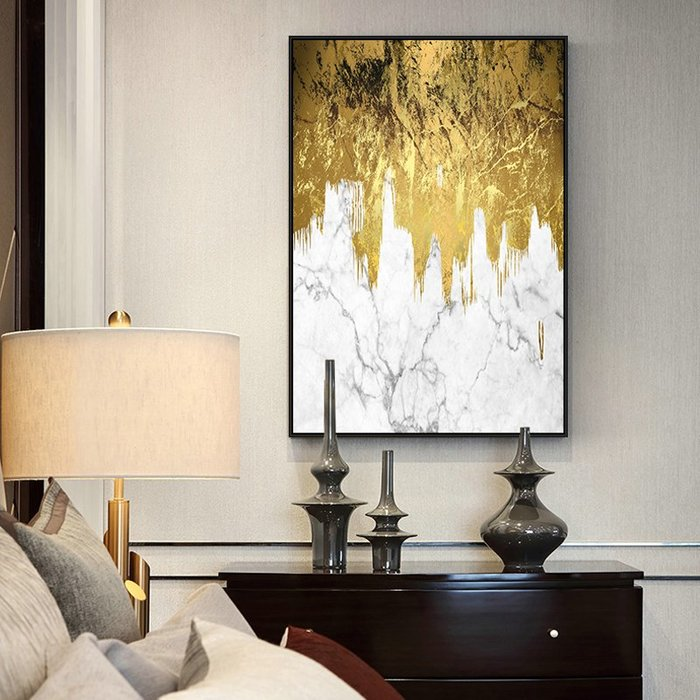 ABOUT。R 金色大理石抽象裝飾畫巨幅藝術掛畫簡約現代掛畫空間設計掛畫金箔灰色氣派抽象掛畫公司大廳裝飾掛畫(3款可選)