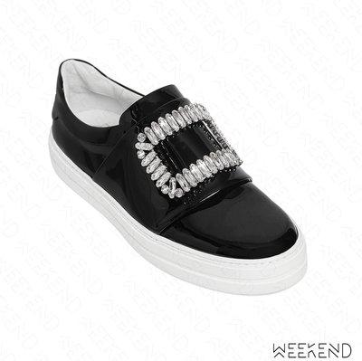 【WEEKEND】 ROGER VIVIER Sneaky Viv 漆皮 鑲鑽 休閒鞋 懶人鞋 黑色