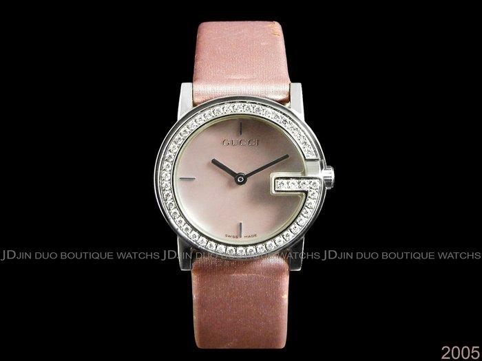 金鐸精品~2005 GUCCI 古馳 101L G字鑽圈珍珠母貝面盤 石英女用鑽錶