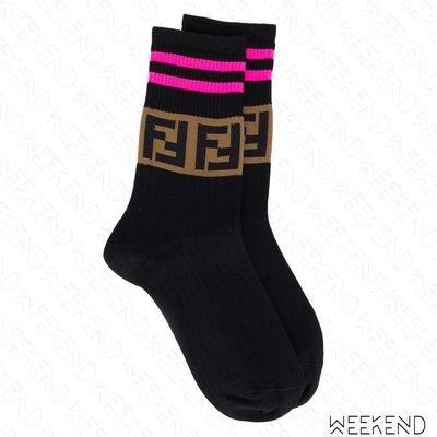 【WEEKEND】 FENDI FF logo 棉質 休閒 襪子 撞色 黑色 粉色