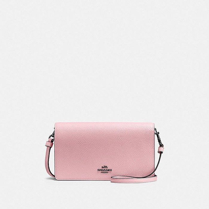 Coco小舖COACH 87401 Foldover Crossbody Clutch 粉色皮革小斜背包