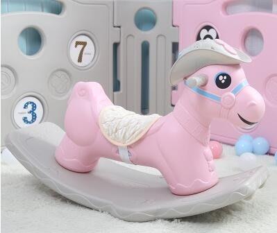 搖搖馬加大兒童玩具寶寶木馬1-6嬰兒帶音樂生日禮物   IGO