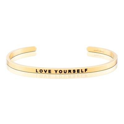 MANTRABAND 美國悄悄話手環 LOVE YOURSELF 先愛自己 才能愛別人 金色手環