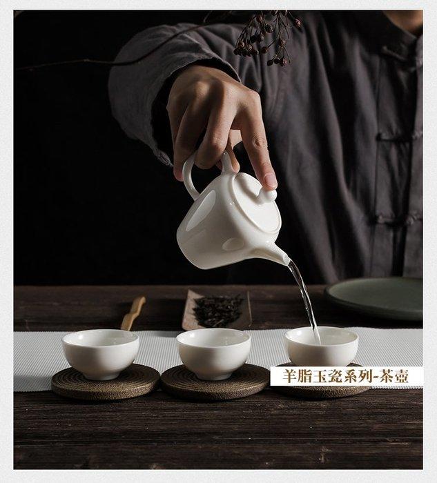 【茶嶺古道】羊脂 玉瓷 茶壺- 美人壺/ 瓷壺 厚實 泡茶壺 純白 德化白 平蓋 酒器 茶具