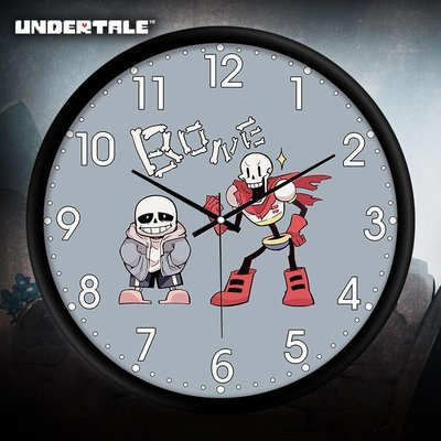 家居生活-undertale傳說之下Frisk骨兄弟游戲周邊鐘錶掛鐘客廳裝飾客廳靜音