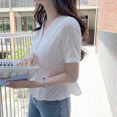 11.11 刺繡襯衫 韓國襯衫女女裝夏季潮復古心機正韓刺繡短袖收腰上衣