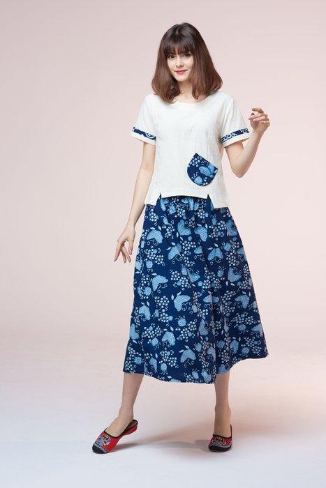 !中國藍Anewei藍染三色小蝴蝶圓裙/長裙-F-多款 萊爾富運費半價