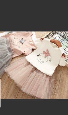 甜美女童紗裙卡通小兔子露肩短袖+蓬蓬裙套裝