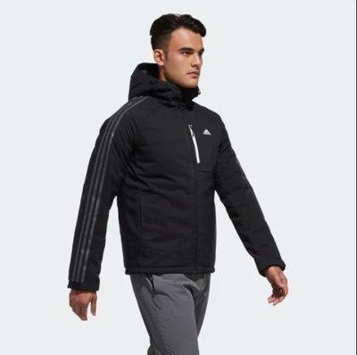 JMX adidas 3-Stripes Down Jacket DM1965 男 羽絨 保暖 連帽外套 黑色