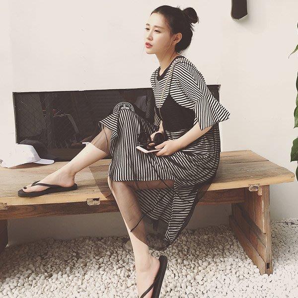 My fit guys 特價款現貨休閒兩件式寬鬆條紋短袖T恤+蕾絲吊帶裙透視套裝網紗連身裙 黑