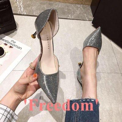 Freedom~女鞋高跟鞋細跟2019新款時尚性感亮面尖頭中空淺口鞋銀色女鞋子單鞋