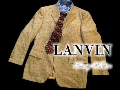 *Beauty*LANVIN淺卡其格紋羊毛獵裝西裝外套 48號