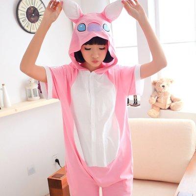 艾莉小舖~春夏全棉 粉色史迪奇 卡通 連身睡衣~如廁版~,cosplay角色扮演情侶 禮物~滿2千免運