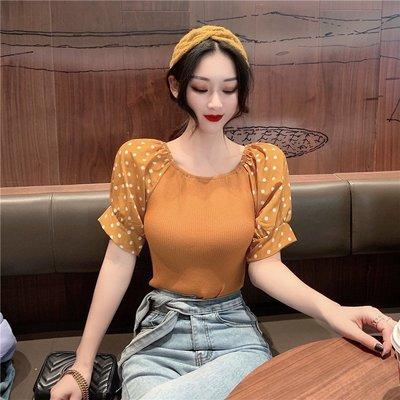 韓版 平口T恤 一字肩 港風復古女 一字肩 小波點拼接泡泡袖短袖針織上衣