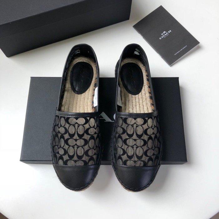 【小黛西歐美代購】COACH 寇馳 2020新款 黑色漁夫鞋 滿版LOGO 休閒鞋 時尚精品 美國連線代購