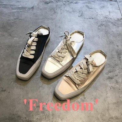 Freedom~女鞋懶人半拖鞋女2019夏季新款時尚真皮拼接系帶復古平底防滑涼拖外穿