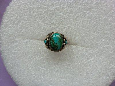 西藏老戒:鑲藍色綠松石1