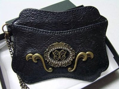 *水漾美人*全新ANNA SUI安娜蘇限量蝴蝶雕飾蕾絲紋黑色證件夾**㊣專櫃貨㊣