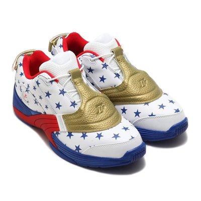 =CodE= REEBOK ANSWER V MU X ATMOS 皮革籃球鞋(白金藍紅)FW7486 美國旗星星 預購