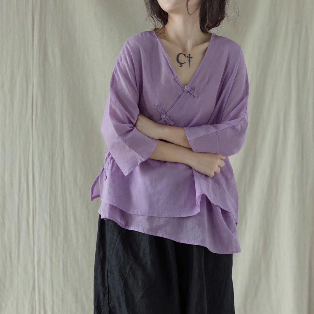 【子芸芳】原創大碼亞麻V領盤口上衣寬鬆顯瘦