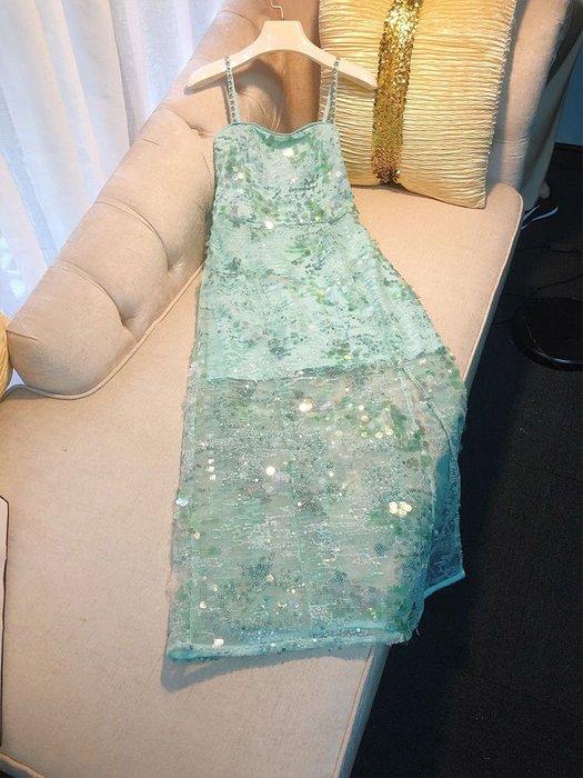 PapaDarling 20SS 法式復古設計感奢華重工亮片釘珠吊帶長裙 連身裙 洋裝 小禮服
