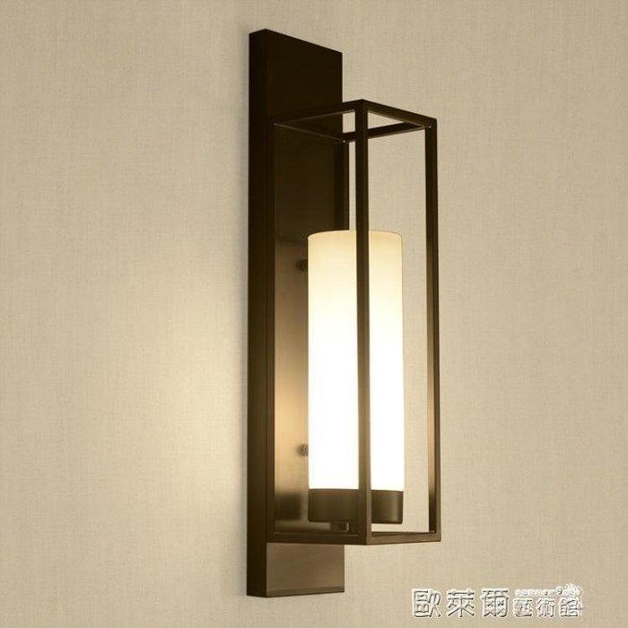 壁燈 現代新中式仿古壁燈酒店臥室床頭客廳過道走廊鐵藝長方形工程燈具 MKS
