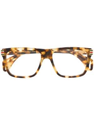 GUCCI Logo 男生配件 玳瑁棕色矩形鏡框玳瑁棕色側臂眼鏡  萊克精品代購 190828025