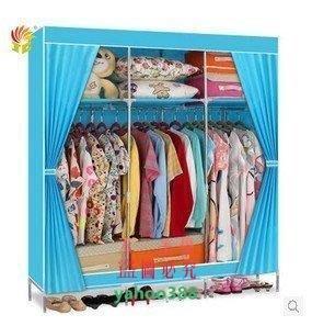 美學79精彩宜家組合多掛簡易布衣櫃加高鋼管折疊衣櫃韓式衣櫥櫥櫃收納櫃35❖1014